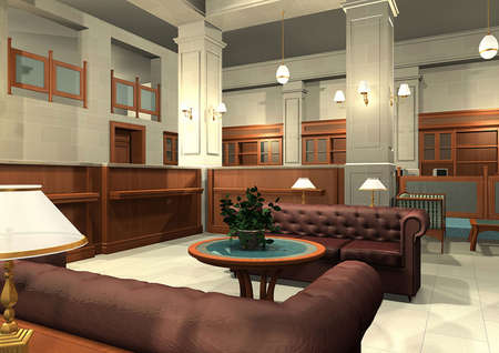indoors: 3D rendering of an office