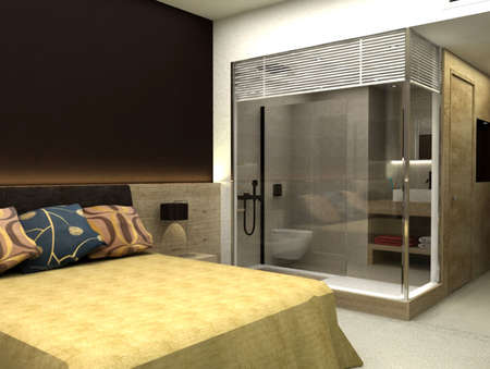 3D rendering of bedroom or hotel room photo