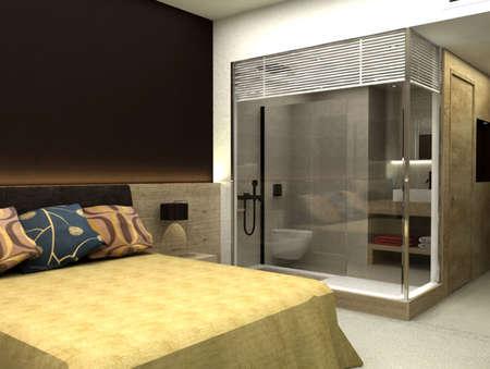 3D rendering of bedroom or hotel room Stock Photo - 4770534