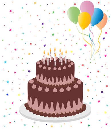 Chocoladecake met kleurrijke ballonnen Stock Illustratie