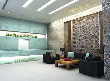 architectural rendering: 3D render of lobby or waiting area