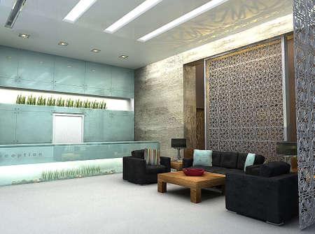 3D renderen van lobby of wachtruimte