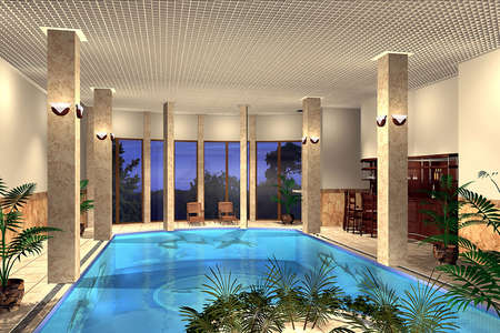 render: 3D render of an indoor swimming pool