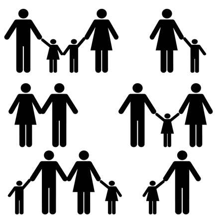 Familie silhouetten pictogram set Stock Illustratie