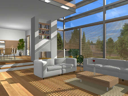 render: 3D render of modern living room