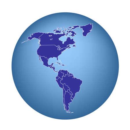 Kaart van Amerika met de landen die Stock Illustratie