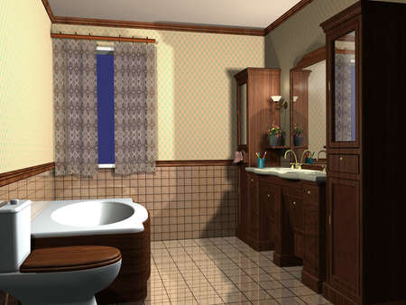 3D render of a bathroom Stock Photo - 4952139