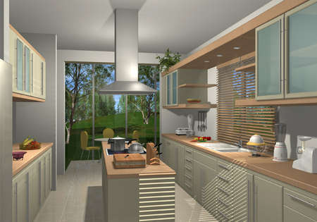 architectural rendering: 3D render of a modern kitchen