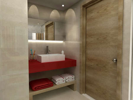 bathroom design: 3D render of a bathroom