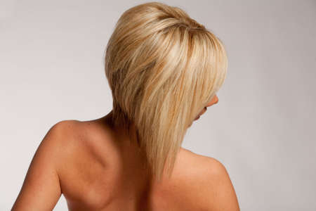 Haircut and hairstyle on blonde hair Stock Photo