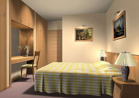 3D render of a hotel room or bedroom Stock Photo - 5025572