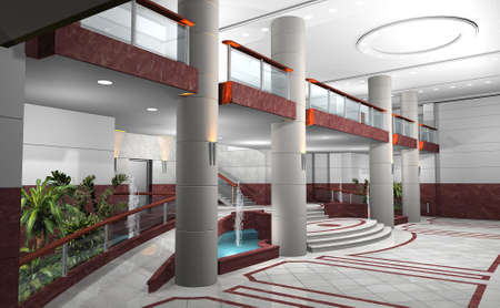 hotel lobby: 3D rendering of a lobby