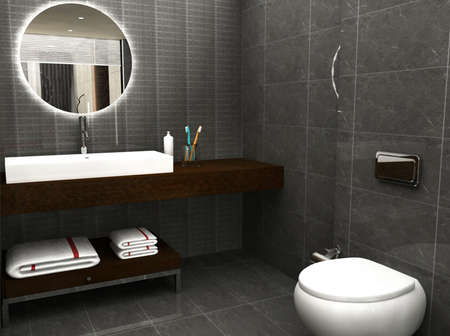 bathroom interior: 3D rendering of a bathroom