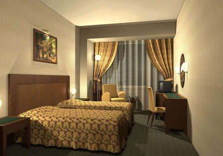 render: 3D render of a hotel room or bedroom Stock Photo