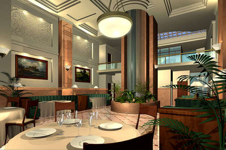 3D render of modern dining room Stock Photo - 5053212