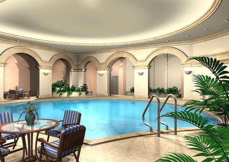 3D render van een overdekt zwembad
