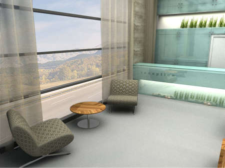 3D render of lobby or waiting area photo