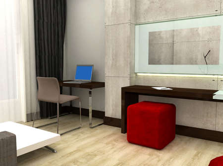 3D rendering of a hotel room Stock Photo - 5178022