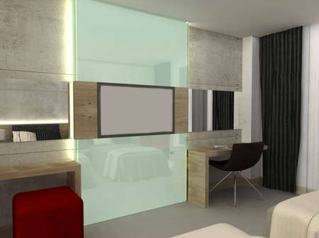 3D render of a hotel room or bedroom Stock Photo - 5214676