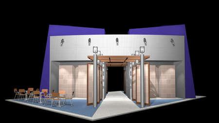 beursvloer: 3D render van tentoonstellingsstands