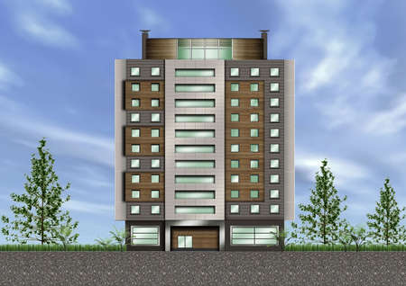 office building exterior: 3D concept of office building exterior