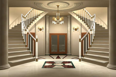 3D render of an upscale home entrance Stock Photo