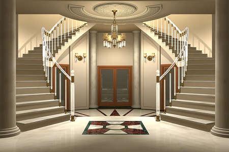 stair: 3D render van een luxe woning ingang