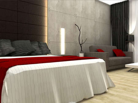 render: 3D rendering of bedroom
