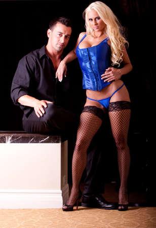 Sexy couple, woman in lingerie Reklamní fotografie