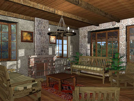 3D rendering of a cabin living room Stock Photo - 5374339