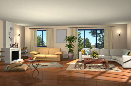 window curtains: 3D render of modern living room