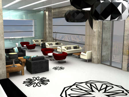 home office interior: 3D render of lobby or waiting area