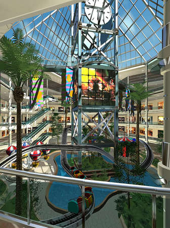 render: 3D rendering of a shopping mall Stock Photo