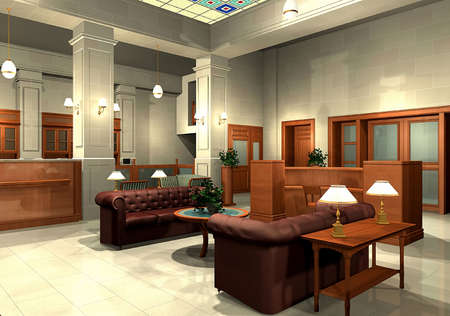 bank office: 3D rendering of an office