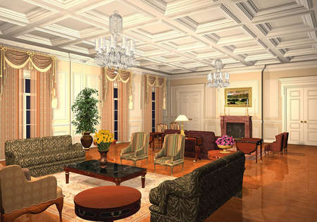 3D render of a classic living room photo