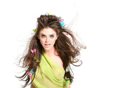 Spring hairdo and makeup photo