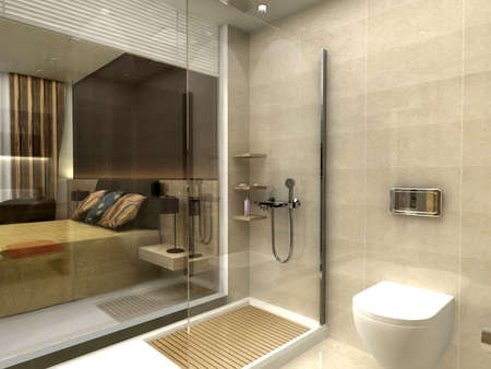 render: 3D rendering of a bathroom