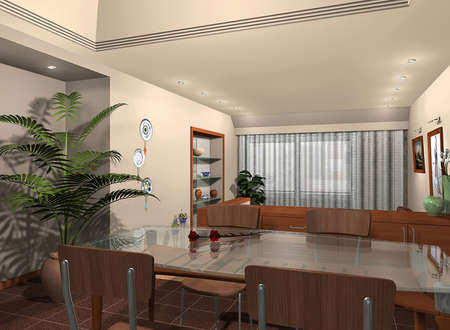 3D render of a dining room photo