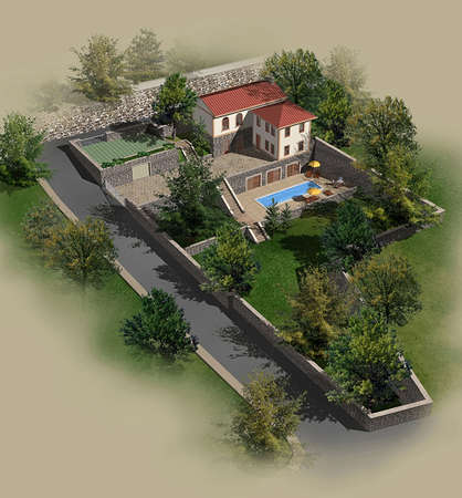 render: 3D render of a single family house