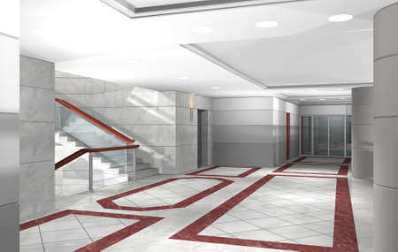 3D rendering of an office building hallway