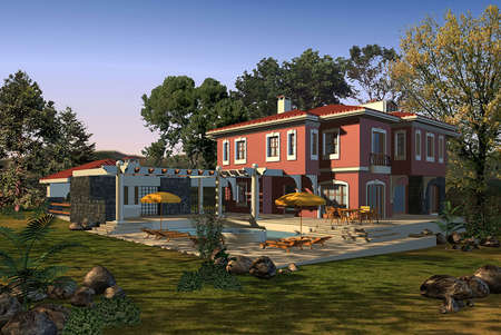 home exterior: 3D render of a house exterior Stock Photo