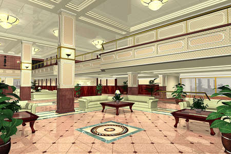 3D rendering of a lobby photo