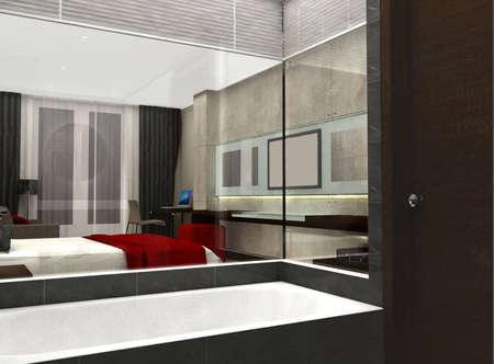 3D rendering of bedroom or hotel room Stock Photo - 5568303