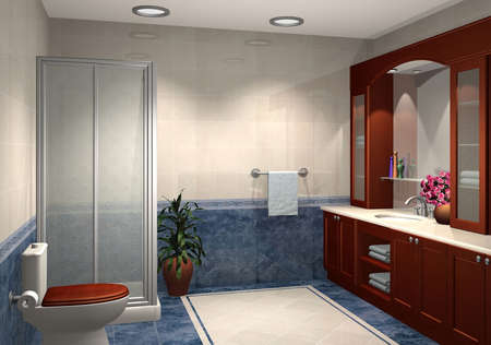 3D render of modern bathroom