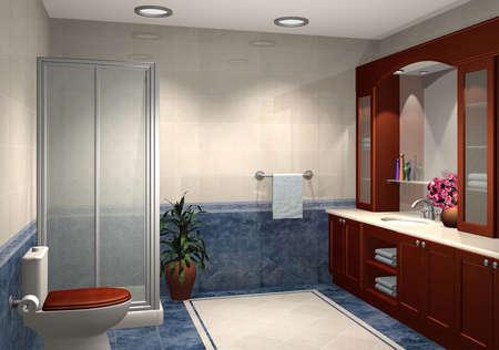 3D render of modern bathroom