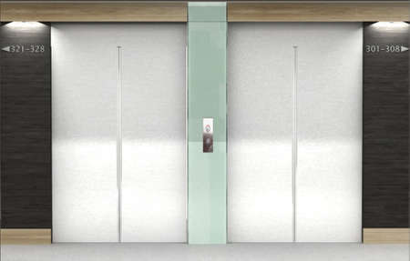 3D rendering of a pair of elevators Stock Photo
