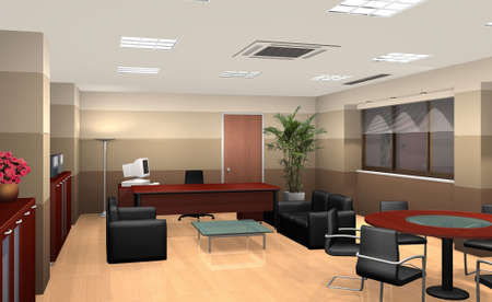 render: 3D rendering of an office