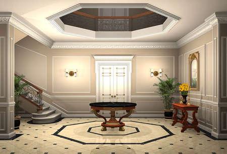 3D render of an upscale home entrance Banque d'images
