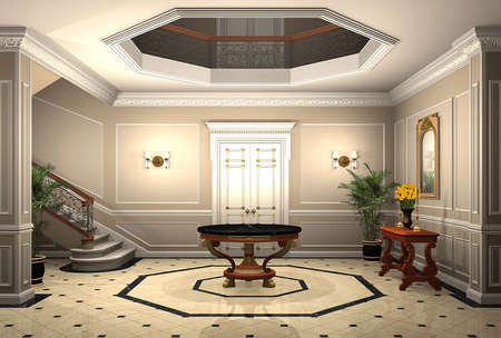 3D render of an upscale home entrance Foto de archivo