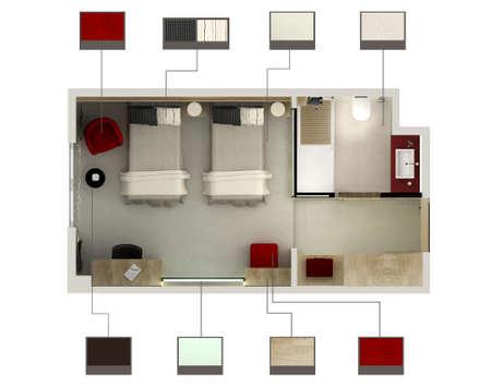 3D render of a hotel room or bedroom Banco de Imagens